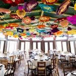 Atrium with bright paper flower canopy, Procopio Photography wedding trend