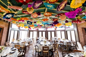 Atrium with bright paper flower canopy, Procopio Photography wedding trend