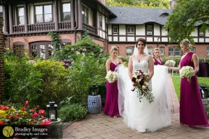 Bridal party on garden path, Bradley Images