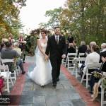 Bride and groom following garden ceremony, Bradley Images