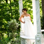 June bride in marble gazebo, David Hartcorn Photography