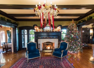 Foyer with fireplace with holiday decor