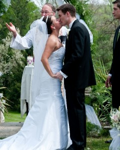 Bride and Groom Kissing Artistic Difference