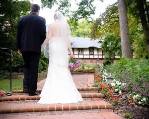 Bride and Groom Walking Up Steps