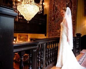 Bride Smiling at Balcony
