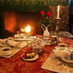Candelit breakfast by dining room fireplace