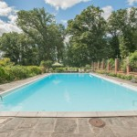 Outdoor pool and patio with view of woods