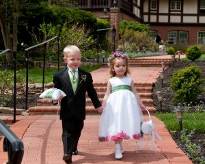 Ring Bearer and Flower Girl Walking on Patio Artistic Difference