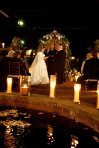 Candlelight ceremony in courtyard, Artful Weddings by Sachs Photography
