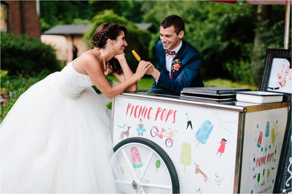 Popsicle cart at wedding, photo by Brandilynn Aines