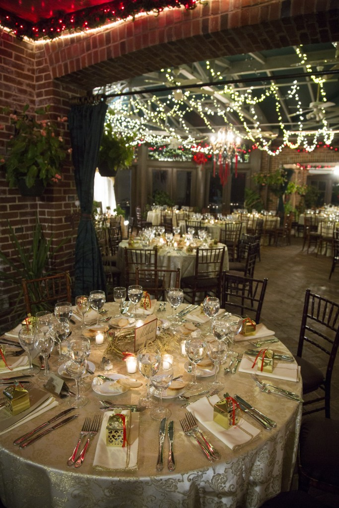 Atrium Dining For Winter Wedding Reception At Gramercy Mansion