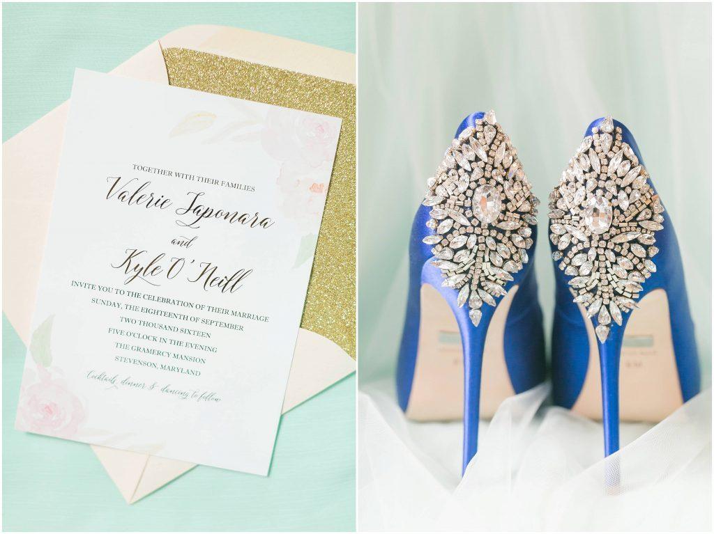 wedding details | something blue wedding shoes | Baltimore, Maryland wedding