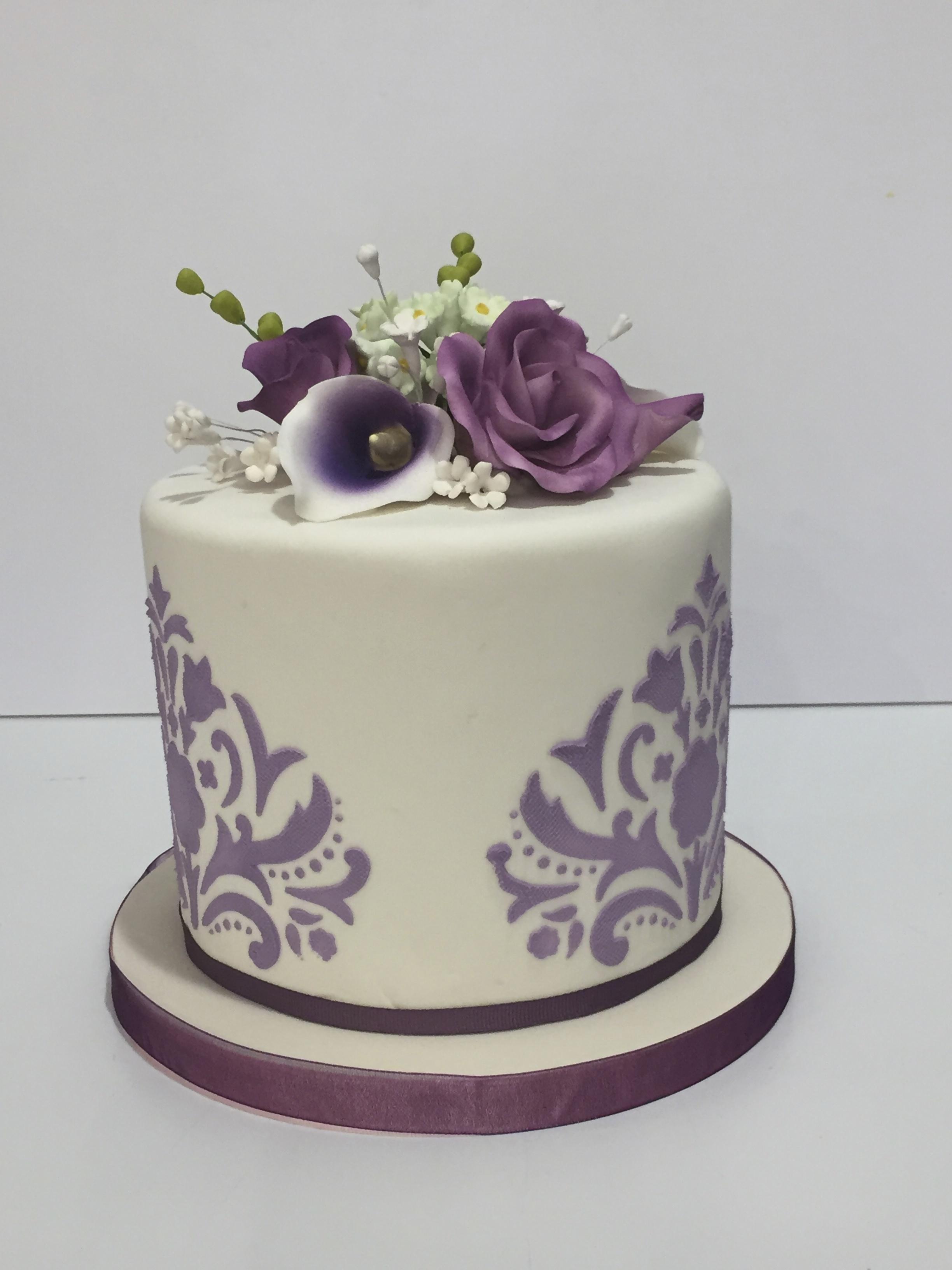 Lavender Damask Wedding Cake With Fondant Icing